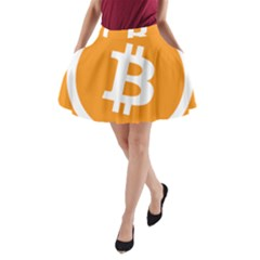 Bitcoin Cryptocurrency Currency A-Line Pocket Skirt