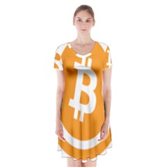 Bitcoin Cryptocurrency Currency Short Sleeve V Neck Flare Dress