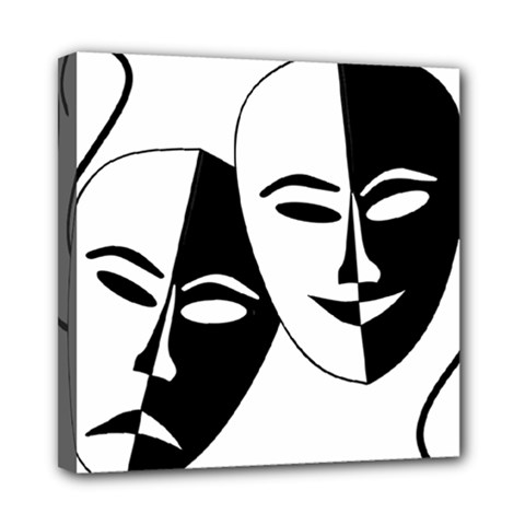 Theatermasken Masks Theater Happy Mini Canvas 8  X 8