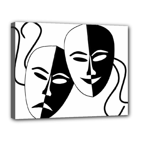 Theatermasken Masks Theater Happy Canvas 14  X 11