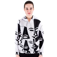 Theatermasken Masks Theater Happy Women s Zipper Hoodie