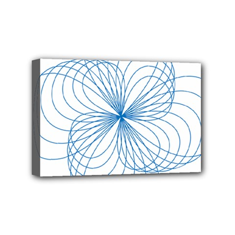 Blue Spirograph Pattern Drawing Design Mini Canvas 6  X 4
