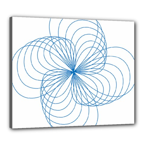 Blue Spirograph Pattern Drawing Design Canvas 24  x 20