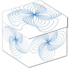 Blue Spirograph Pattern Drawing Design Storage Stool 12