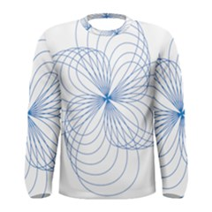 Blue Spirograph Pattern Drawing Design Men s Long Sleeve Tee
