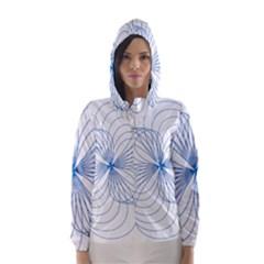Blue Spirograph Pattern Drawing Design Hooded Wind Breaker (women)