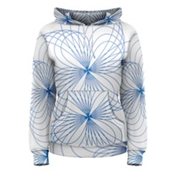Blue Spirograph Pattern Drawing Design Women s Pullover Hoodie
