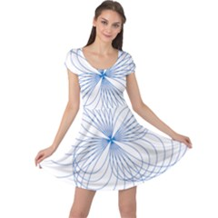 Blue Spirograph Pattern Drawing Design Cap Sleeve Dresses