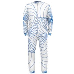 Blue Spirograph Pattern Drawing Design OnePiece Jumpsuit (Men)