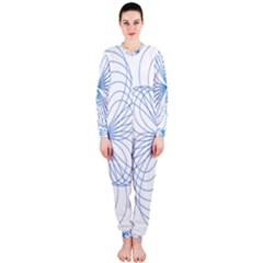 Blue Spirograph Pattern Drawing Design Onepiece Jumpsuit (ladies)