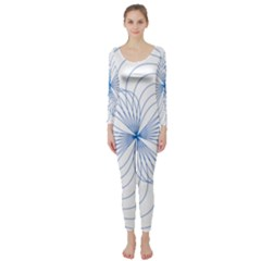 Blue Spirograph Pattern Drawing Design Long Sleeve Catsuit
