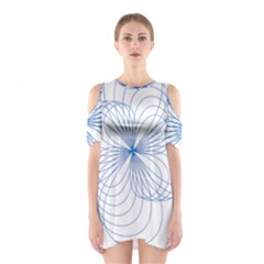 Blue Spirograph Pattern Drawing Design Shoulder Cutout One Piece