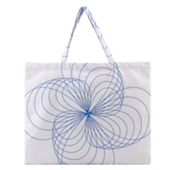 Blue Spirograph Pattern Drawing Design Zipper Large Tote Bag
