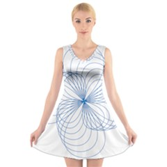 Blue Spirograph Pattern Drawing Design V Neck Sleeveless Skater Dress