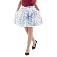 Blue Spirograph Pattern Drawing Design A-Line Pocket Skirt