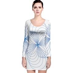 Blue Spirograph Pattern Drawing Design Long Sleeve Velvet Bodycon Dress