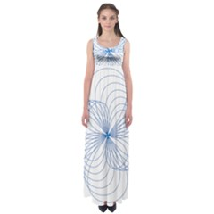 Blue Spirograph Pattern Drawing Design Empire Waist Maxi Dress
