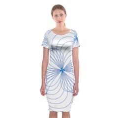Blue Spirograph Pattern Drawing Design Classic Short Sleeve Midi Dress