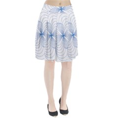 Blue Spirograph Pattern Drawing Design Pleated Skirt