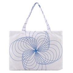 Blue Spirograph Pattern Drawing Design Medium Zipper Tote Bag
