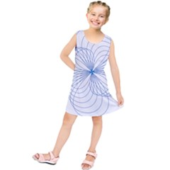 Blue Spirograph Pattern Drawing Design Kids  Tunic Dress