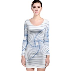 Spirograph Pattern Drawing Design Long Sleeve Bodycon Dress