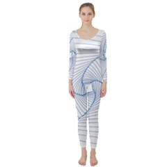 Spirograph Pattern Drawing Design Long Sleeve Catsuit