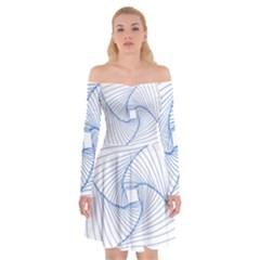 Spirograph Pattern Drawing Design Off Shoulder Skater Dress