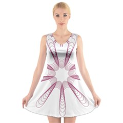 Spirograph Pattern Circle Design V Neck Sleeveless Skater Dress