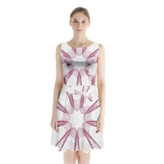Spirograph Pattern Circle Design Sleeveless Waist Tie Chiffon Dress