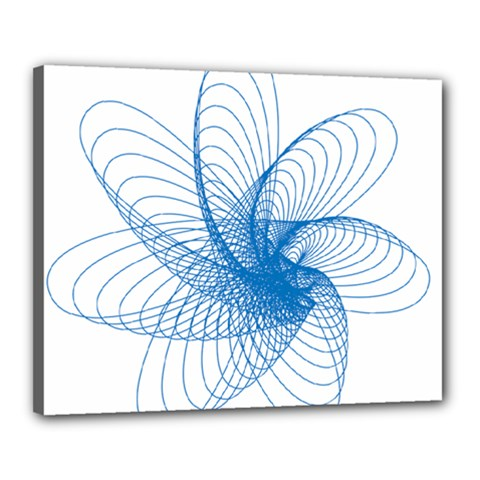 Spirograph Pattern Drawing Design Blue Canvas 20  X 16
