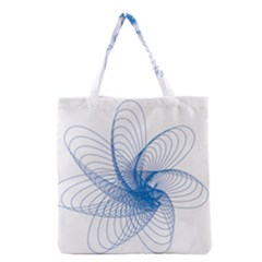 Spirograph Pattern Drawing Design Blue Grocery Tote Bag
