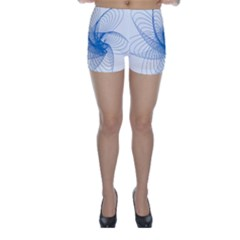 Spirograph Pattern Drawing Design Blue Skinny Shorts