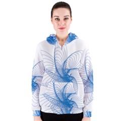Spirograph Pattern Drawing Design Blue Women s Zipper Hoodie