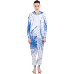 Spirograph Pattern Drawing Design Blue Hooded Jumpsuit (ladies)