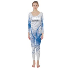 Spirograph Pattern Drawing Design Blue Long Sleeve Catsuit