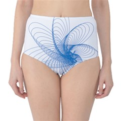 Spirograph Pattern Drawing Design Blue High-Waist Bikini Bottoms