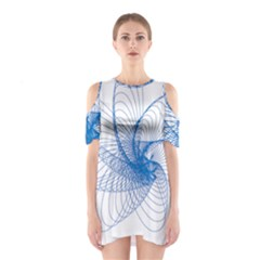 Spirograph Pattern Drawing Design Blue Shoulder Cutout One Piece