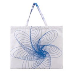 Spirograph Pattern Drawing Design Blue Zipper Large Tote Bag