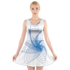 Spirograph Pattern Drawing Design Blue V Neck Sleeveless Skater Dress