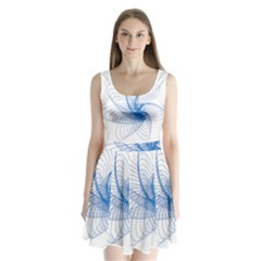 Spirograph Pattern Drawing Design Blue Split Back Mini Dress