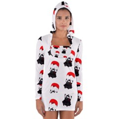 Pattern Sheep Parachute Children Women s Long Sleeve Hooded T Shirt