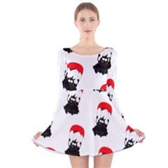 Pattern Sheep Parachute Children Long Sleeve Velvet Skater Dress