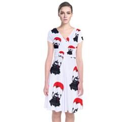Pattern Sheep Parachute Children Short Sleeve Front Wrap Dress