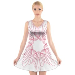 Spirograph Pattern Drawing Design V Neck Sleeveless Skater Dress
