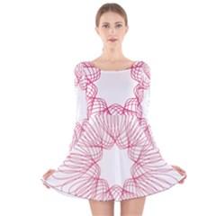 Spirograph Pattern Drawing Design Long Sleeve Velvet Skater Dress