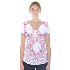 Spirograph Pattern Drawing Design Short Sleeve Front Detail Top