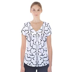 Brain Mind Gray Matter Thought Short Sleeve Front Detail Top