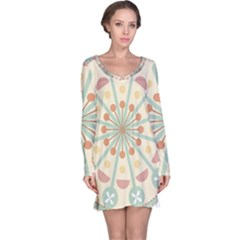 Blue Circle Ornaments Long Sleeve Nightdress