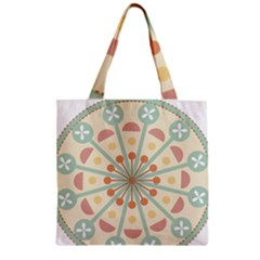 Blue Circle Ornaments Zipper Grocery Tote Bag